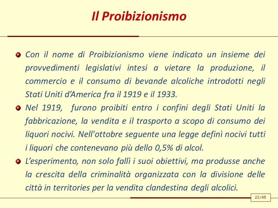 Con il nome di Proibizionismo viene indicato un insieme dei provvedimenti legislativi intesi a vietare la produzione, il commercio e il consumo di bev