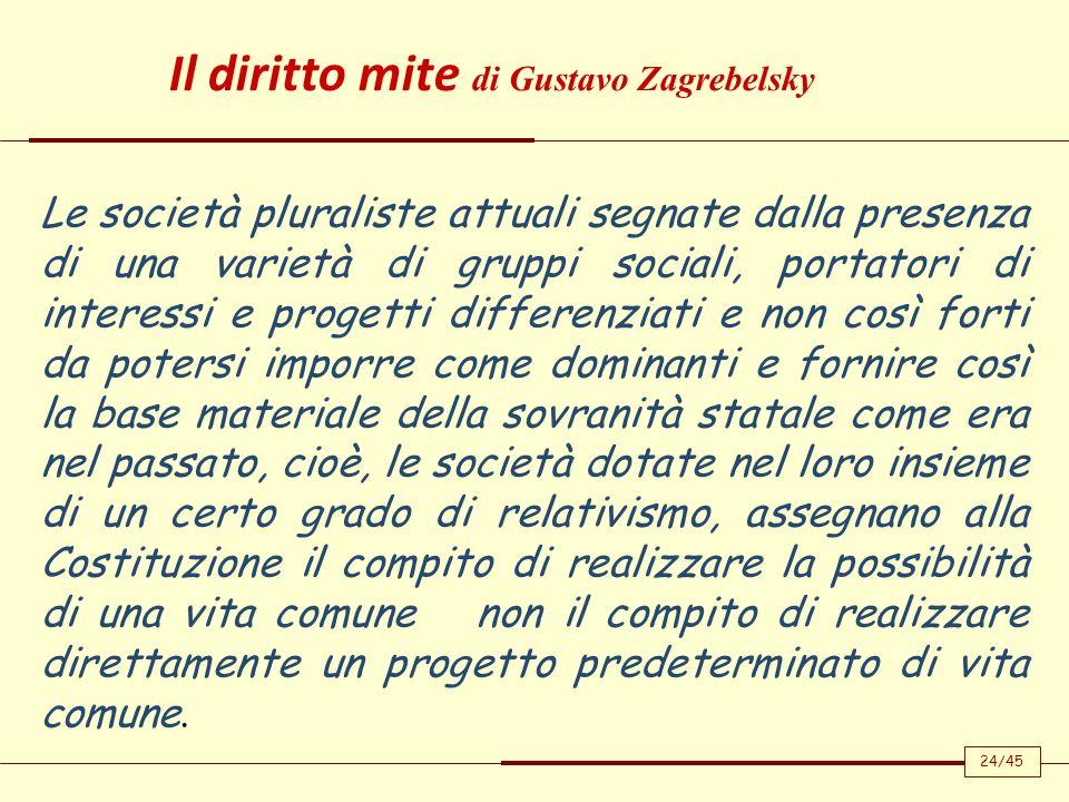 Il diritto mite di Gustavo Zagrebelsky Le società pluraliste attuali segnate dalla presenza di una varietà di gruppi sociali, portatori di interessi e