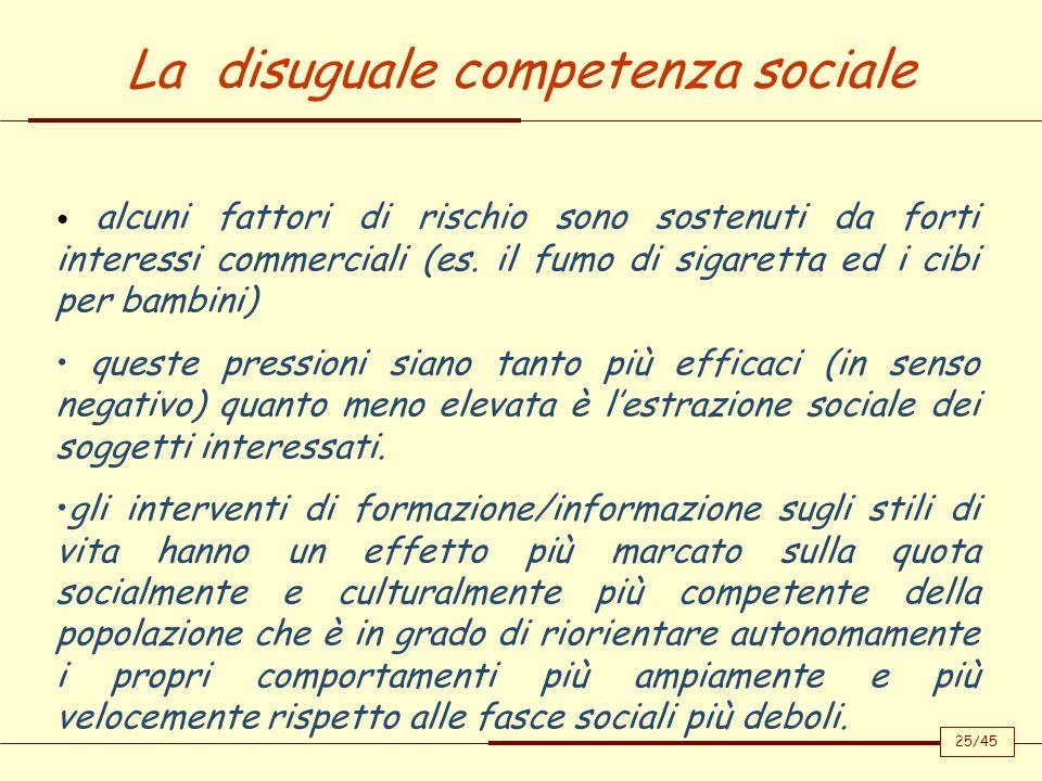 La disuguale competenza sociale alcuni fattori di rischio sono sostenuti da forti interessi commerciali (es. il fumo di sigaretta ed i cibi per bambin