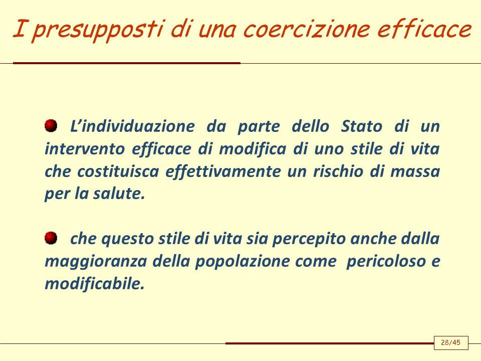 I presupposti di una coercizione efficace Lindividuazione da parte dello Stato di un intervento efficace di modifica di uno stile di vita che costitui