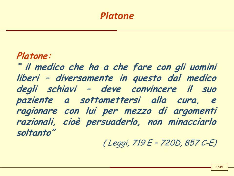 Platone Platone: il medico che ha a che fare con gli uomini liberi – diversamente in questo dal medico degli schiavi – deve convincere il suo paziente