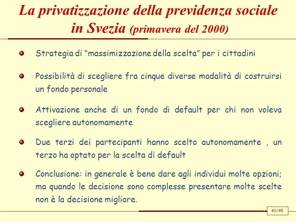 Strategia di massimizzazione della scelta per i cittadini Possibilità di scegliere fra cinque diverse modalità di costruirsi un fondo personale Attiva