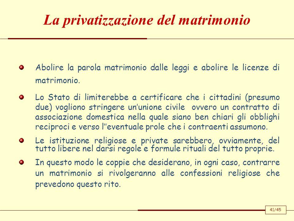 Abolire la parola matrimonio dalle leggi e abolire le licenze di matrimonio. Lo Stato di limiterebbe a certificare che i cittadini (presumo due) vogli