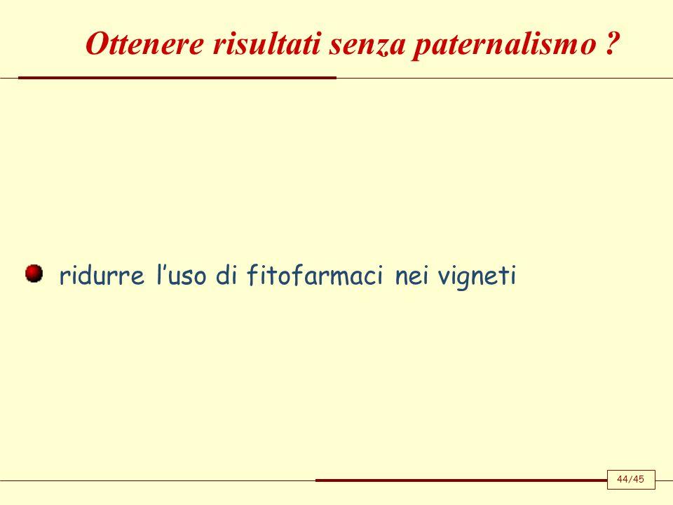 ridurre luso di fitofarmaci nei vigneti Ottenere risultati senza paternalismo ? 44/45