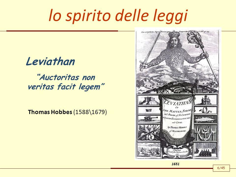lo spirito delle leggi Leviathan Auctoritas non veritas facit legem 1651 Thomas Hobbes (1588\1679) 6/45