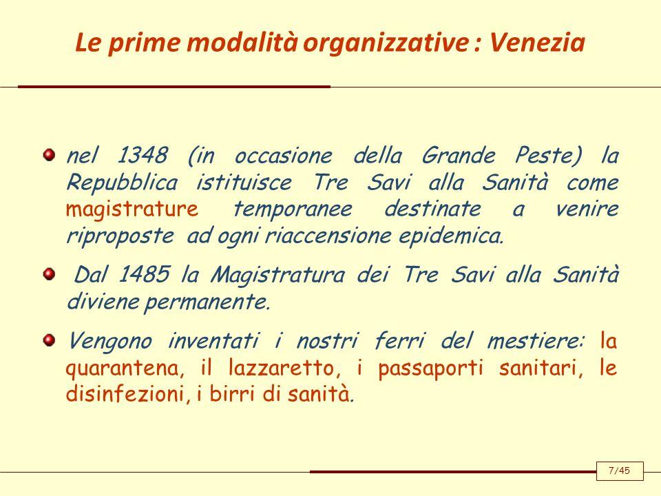 Le prime modalità organizzative : Venezia nel 1348 (in occasione della Grande Peste) la Repubblica istituisce Tre Savi alla Sanità come magistrature t