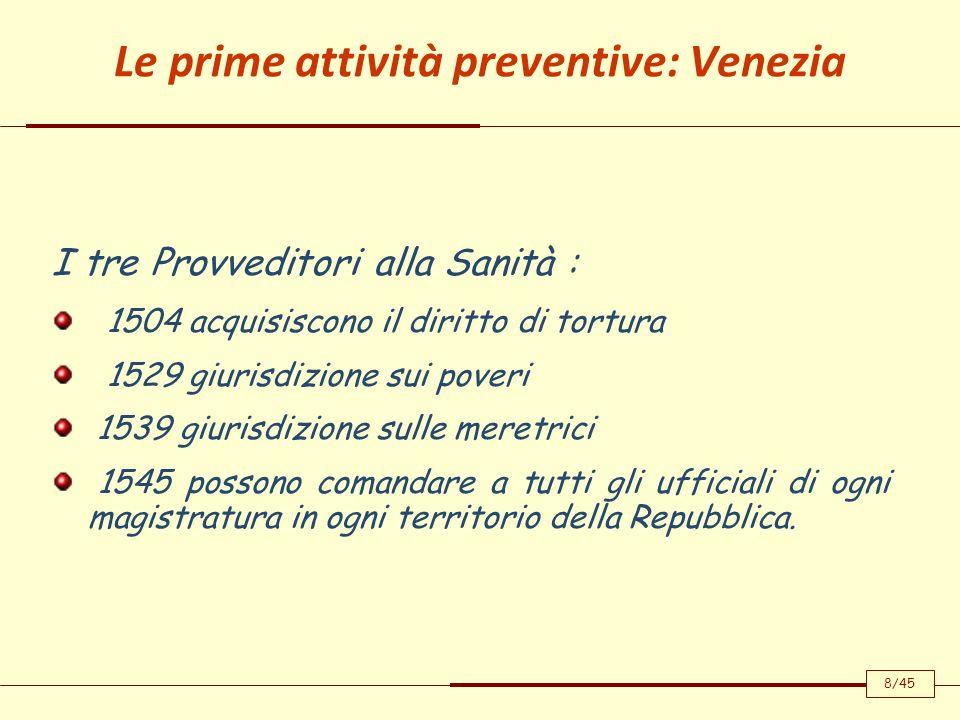 Le prime attività preventive: Venezia I tre Provveditori alla Sanità : 1504 acquisiscono il diritto di tortura 1529 giurisdizione sui poveri 1539 giur