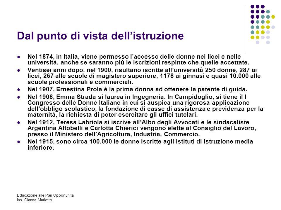 Educazione alle Pari Opportunità Ins. Gianna Mariotto Dal punto di vista dellistruzione Nel 1874, in Italia, viene permesso laccesso delle donne nei l
