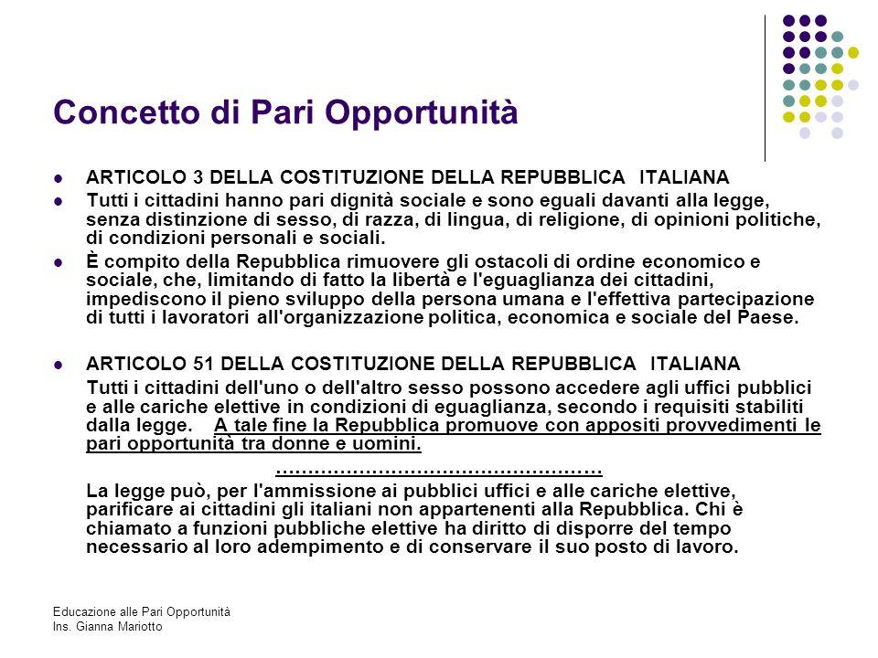 Educazione alle Pari Opportunità Ins. Gianna Mariotto Concetto di Pari Opportunità ARTICOLO 3 DELLA COSTITUZIONE DELLA REPUBBLICA ITALIANA Tutti i cit