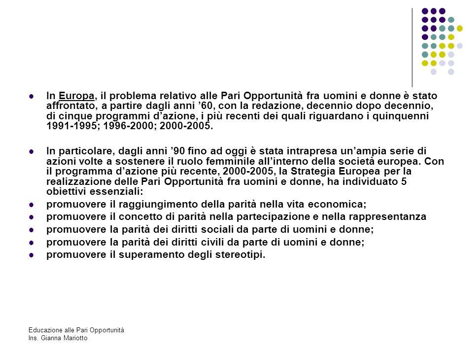 Educazione alle Pari Opportunità Ins. Gianna Mariotto In Europa, il problema relativo alle Pari Opportunità fra uomini e donne è stato affrontato, a p