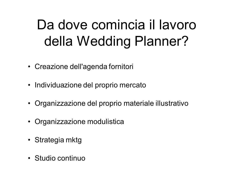 Da dove comincia il lavoro della Wedding Planner? Creazione dell'agenda fornitori Individuazione del proprio mercato Organizzazione del proprio materi