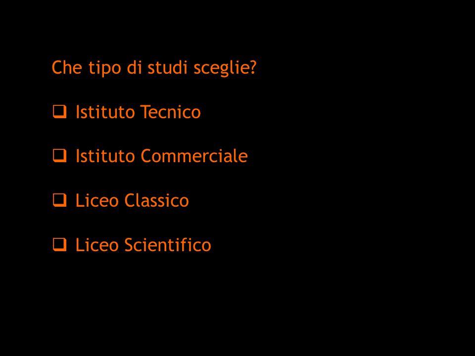 Che tipo di studi sceglie? Istituto Tecnico Istituto Commerciale Liceo Classico Liceo Scientifico