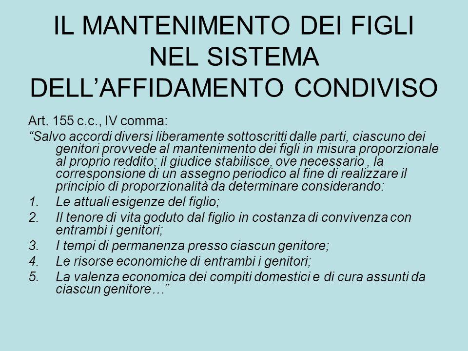 IL MANTENIMENTO DEI FIGLI NEL SISTEMA DELLAFFIDAMENTO CONDIVISO Art. 155 c.c., IV comma: Salvo accordi diversi liberamente sottoscritti dalle parti, c