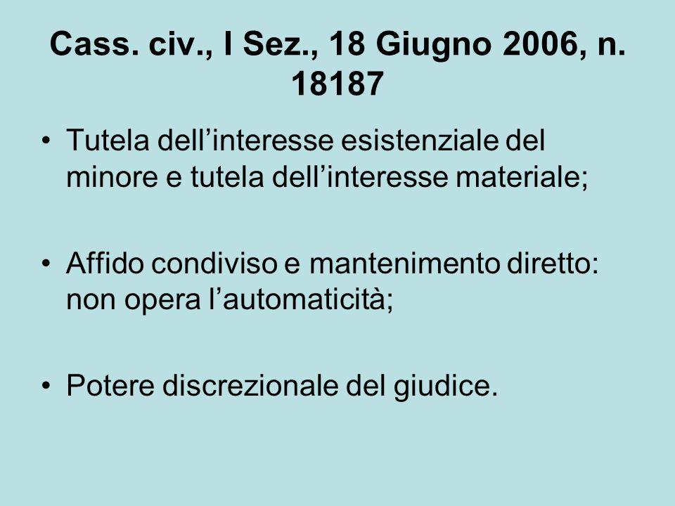 Cass. civ., I Sez., 18 Giugno 2006, n. 18187 Tutela dellinteresse esistenziale del minore e tutela dellinteresse materiale; Affido condiviso e manteni