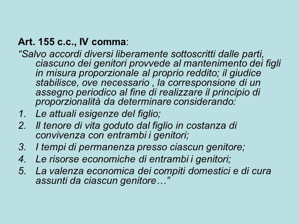 Art. 155 c.c., IV comma: Salvo accordi diversi liberamente sottoscritti dalle parti, ciascuno dei genitori provvede al mantenimento dei figli in misur