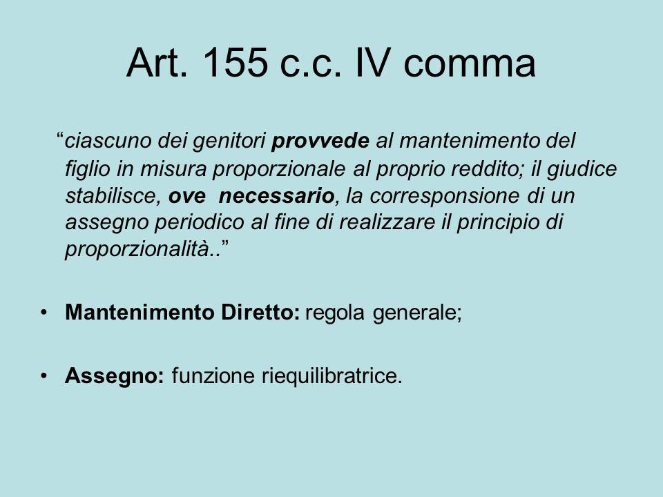 Art. 155 c.c. IV comma ciascuno dei genitori provvede al mantenimento del figlio in misura proporzionale al proprio reddito; il giudice stabilisce, ov