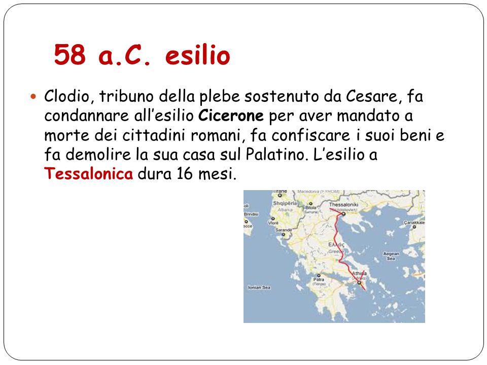 58 a.C. esilio Clodio, tribuno della plebe sostenuto da Cesare, fa condannare allesilio Cicerone per aver mandato a morte dei cittadini romani, fa con