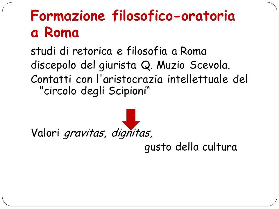Formazione filosofico-oratoria a Roma studi di retorica e filosofia a Roma discepolo del giurista Q. Muzio Scevola. Contatti con l'aristocrazia intell