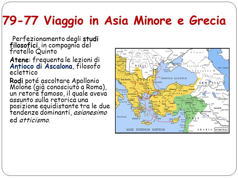 79-77 Viaggio in Asia Minore e Grecia Perfezionamento degli studi filosofici, in compagnia del fratello Quinto Atene: frequenta le lezioni di Antioco