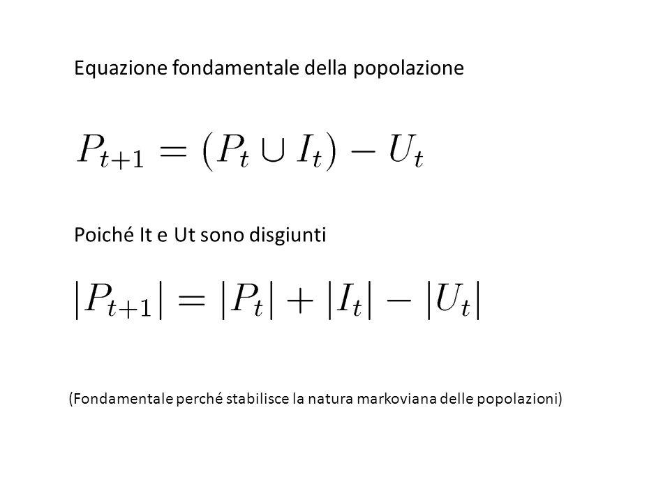 Equazione fondamentale della popolazione Poiché It e Ut sono disgiunti (Fondamentale perché stabilisce la natura markoviana delle popolazioni)