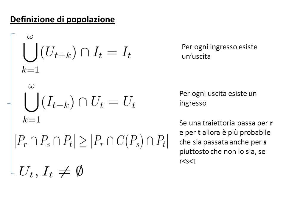 Definizione di popolazione Per ogni ingresso esiste unuscita Per ogni uscita esiste un ingresso Se una traiettoria passa per r e per t allora è più probabile che sia passata anche per s piuttosto che non lo sia, se r<s<t