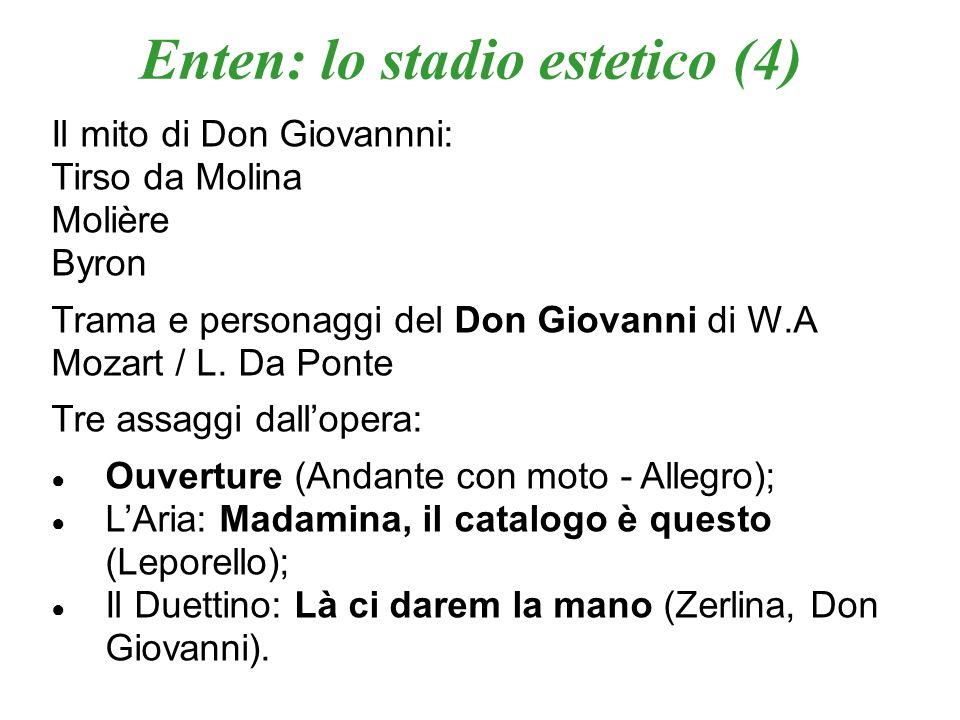 Enten: lo stadio estetico (4) Il mito di Don Giovannni: Tirso da Molina Molière Byron Trama e personaggi del Don Giovanni di W.A Mozart / L. Da Ponte