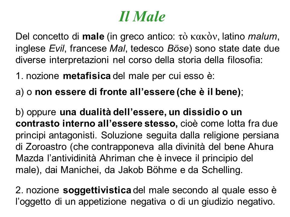 Del concetto di male (in greco antico: τò κακ ν, latino malum, inglese Evil, francese Mal, tedesco Böse) sono state date due diverse interpretazioni n