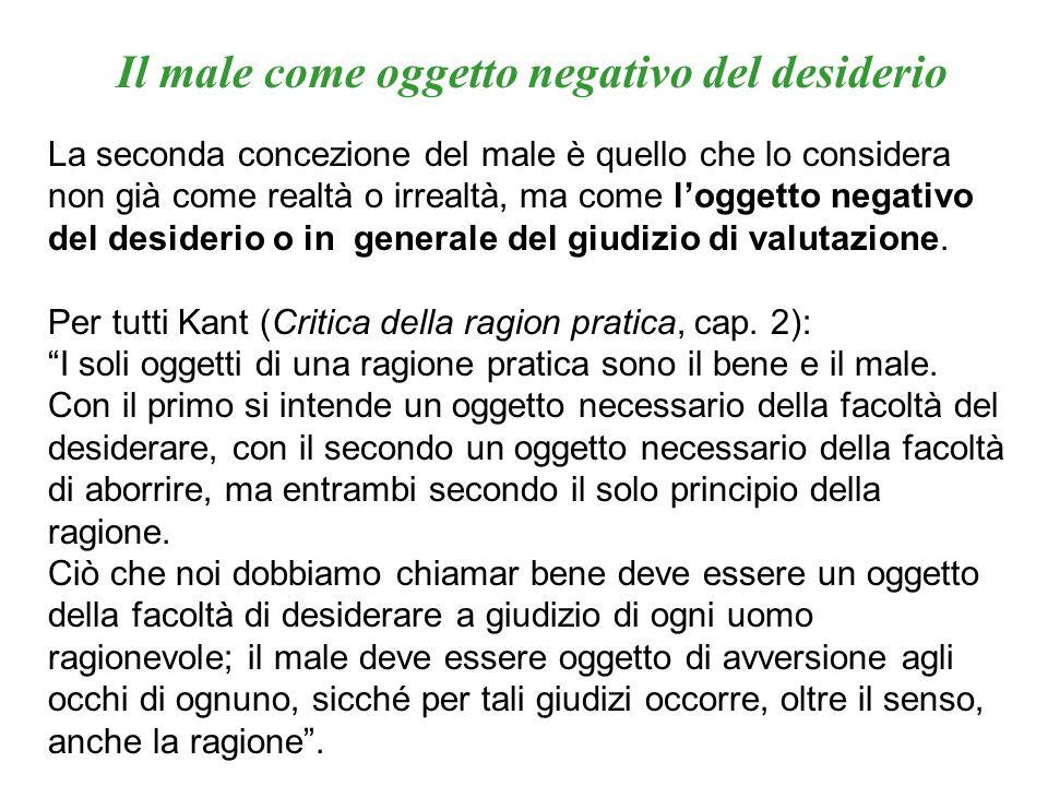 La seconda concezione del male è quello che lo considera non già come realtà o irrealtà, ma come loggetto negativo del desiderio o in generale del giu