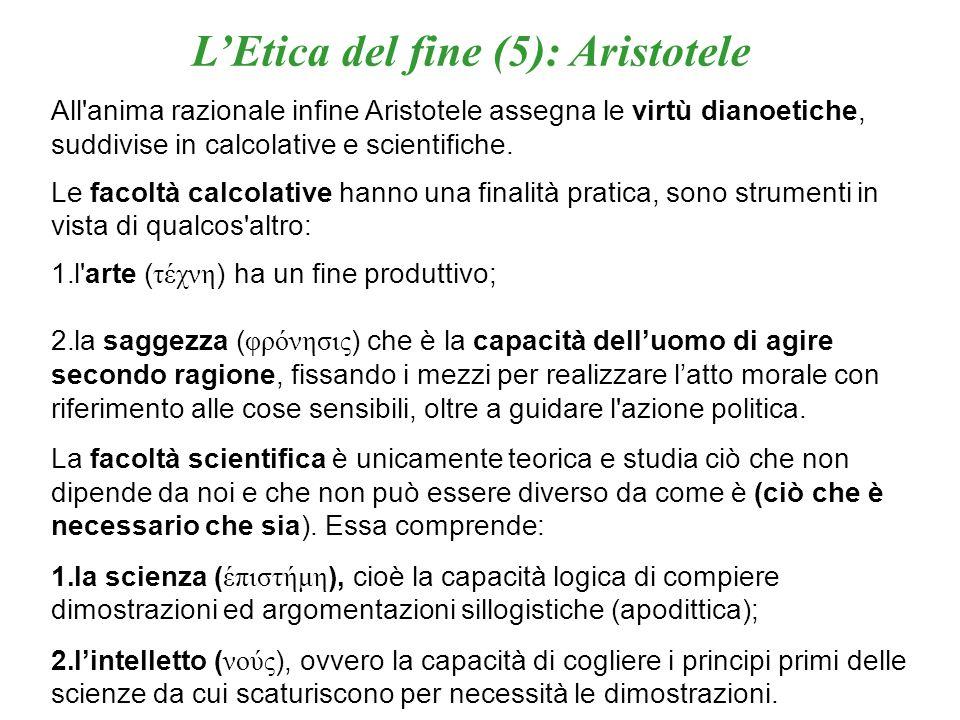 LEtica del fine (6): Aristotele Lunione di scienza e intelligenza viene definita da Aristotele sapienza ( σοφία ) che consiste nella contemplazione delle realtà soprasensibili, che rappresenta il sommo bene per luomo, cioè la massima felicità, che è propria soltanto del filosofo.