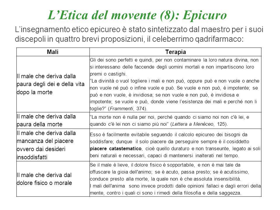 LEtica del movente (8): Epicuro Linsegnamento etico epicureo è stato sintetizzato dal maestro per i suoi discepoli in quattro brevi proposizioni, il c