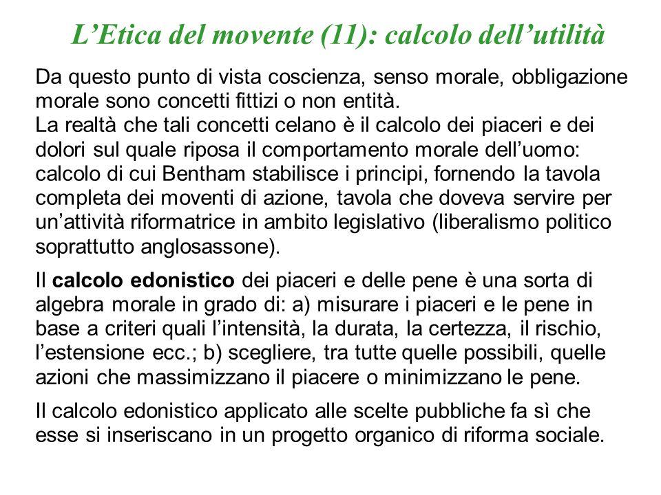 LEtica del movente (11): calcolo dellutilità Da questo punto di vista coscienza, senso morale, obbligazione morale sono concetti fittizi o non entità.