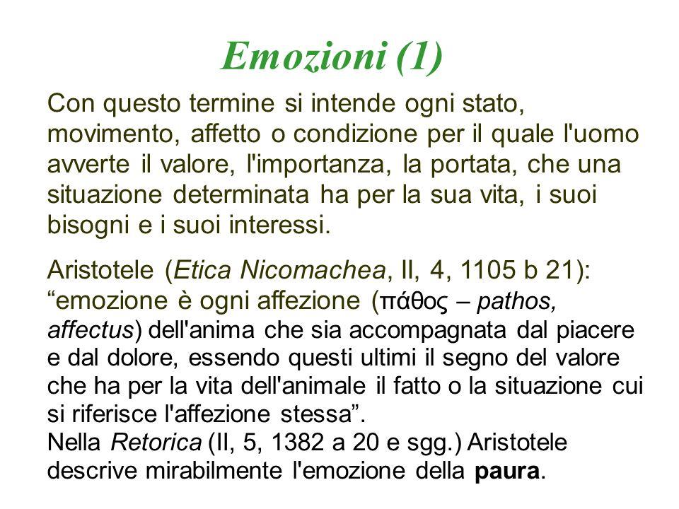 Emozioni (1) Con questo termine si intende ogni stato, movimento, affetto o condizione per il quale l'uomo avverte il valore, l'importanza, la portata