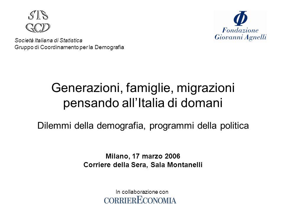 Generazioni, famiglie, migrazioni pensando allItalia di domani Dilemmi della demografia, programmi della politica Milano, 17 marzo 2006 Corriere della
