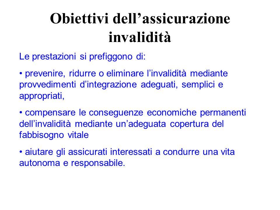 Obiettivi dellassicurazione invalidità Le prestazioni si prefiggono di: prevenire, ridurre o eliminare linvalidità mediante provvedimenti dintegrazion