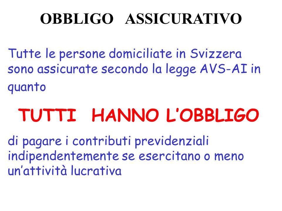 OBBLIGO ASSICURATIVO Tutte le persone domiciliate in Svizzera sono assicurate secondo la legge AVS-AI in quanto TUTTI HANNO LOBBLIGO di pagare i contr