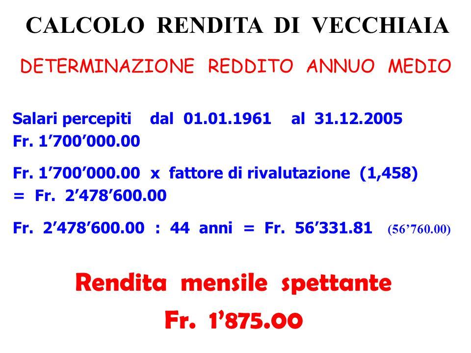 CALCOLO RENDITA DI VECCHIAIA DETERMINAZIONE REDDITO ANNUO MEDIO Salari percepiti dal 01.01.1961 al 31.12.2005 Fr. 1700000.00 Fr. 1700000.00 x fattore