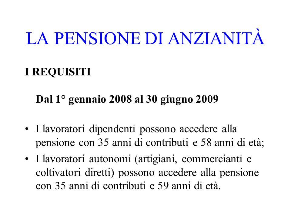 LA PENSIONE DI ANZIANITÀ I REQUISITI Dal 1° gennaio 2008 al 30 giugno 2009 I lavoratori dipendenti possono accedere alla pensione con 35 anni di contr