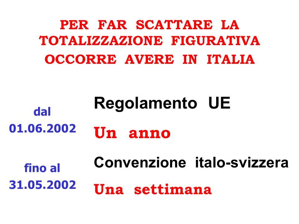 PER FAR SCATTARE LA TOTALIZZAZIONE FIGURATIVA OCCORRE AVERE IN ITALIA Convenzione italo-svizzera Una settimana Regolamento UE Un anno dal 01.06.2002 f