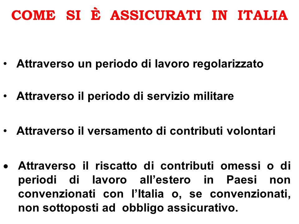 COME SI È ASSICURATI IN ITALIA Attraverso il riscatto di contributi omessi o di periodi di lavoro allestero in Paesi non convenzionati con lItalia o,