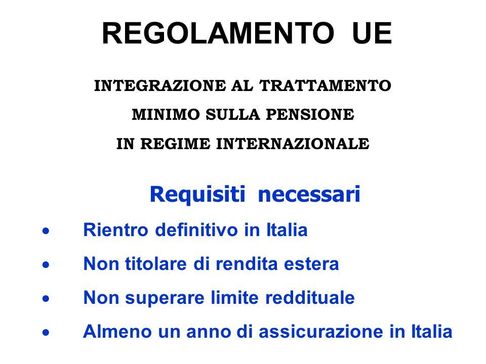 REGOLAMENTO UE INTEGRAZIONE AL TRATTAMENTO MINIMO SULLA PENSIONE IN REGIME INTERNAZIONALE Requisiti necessari Rientro definitivo in Italia Non titolar