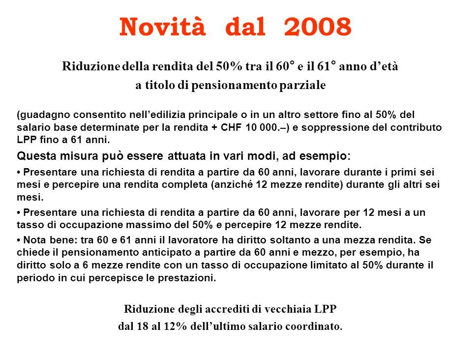 Novità dal 2008 Riduzione della rendita del 50% tra il 60° e il 61° anno detà a titolo di pensionamento parziale (guadagno consentito nelledilizia pri