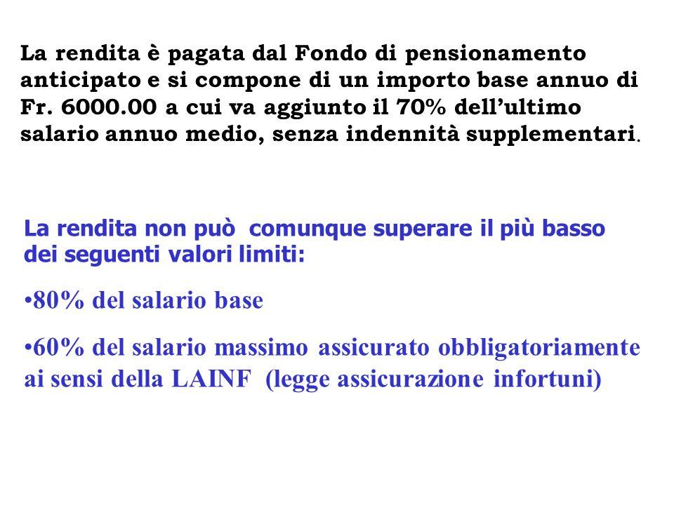 La rendita è pagata dal Fondo di pensionamento anticipato e si compone di un importo base annuo di Fr. 6000.00 a cui va aggiunto il 70% dellultimo sal