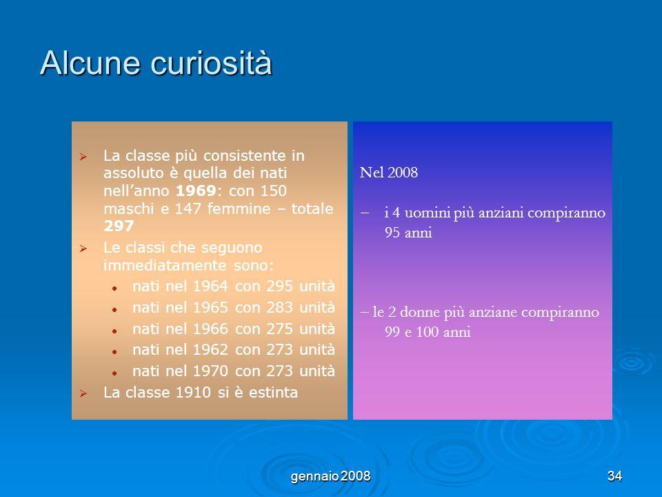 gennaio 200834 Alcune curiosità La classe più consistente in assoluto è quella dei nati nellanno 1969: con 150 maschi e 147 femmine – totale 297 Le cl