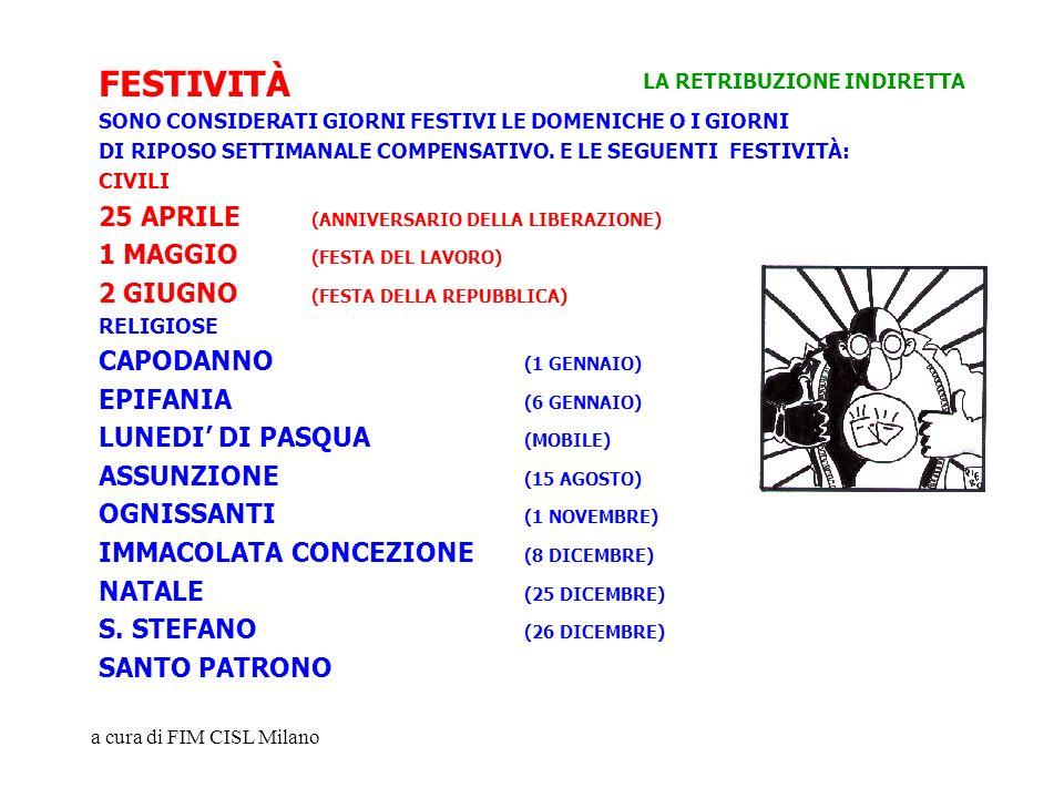 a cura di FIM CISL Milano FESTIVITÀ SONO CONSIDERATI GIORNI FESTIVI LE DOMENICHE O I GIORNI DI RIPOSO SETTIMANALE COMPENSATIVO. E LE SEGUENTI FESTIVIT