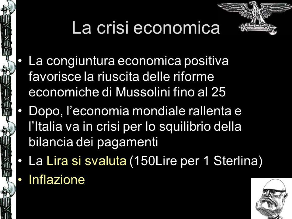 La crisi economica La congiuntura economica positiva favorisce la riuscita delle riforme economiche di Mussolini fino al 25 Dopo, leconomia mondiale r