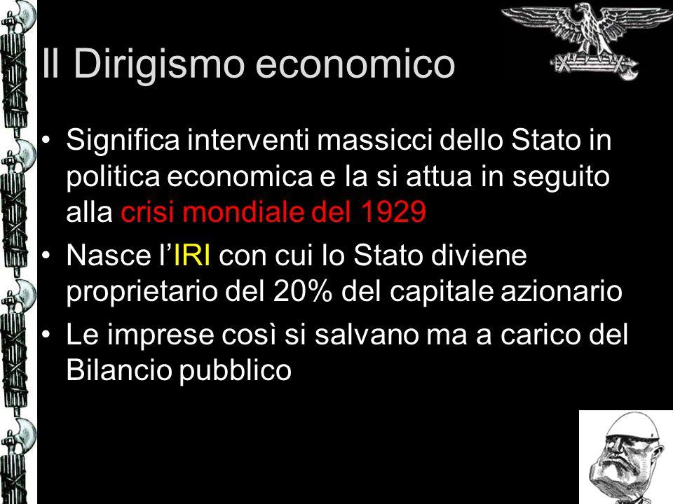 Il Dirigismo economico Significa interventi massicci dello Stato in politica economica e la si attua in seguito alla crisi mondiale del 1929 Nasce lIR