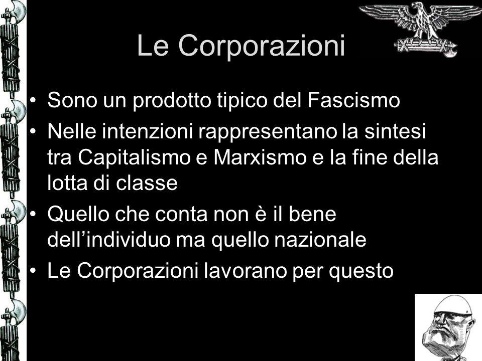 Le Corporazioni Sono un prodotto tipico del Fascismo Nelle intenzioni rappresentano la sintesi tra Capitalismo e Marxismo e la fine della lotta di classe Quello che conta non è il bene dellindividuo ma quello nazionale Le Corporazioni lavorano per questo