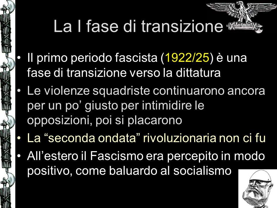 La I fase di transizione Il primo periodo fascista (1922/25) è una fase di transizione verso la dittatura Le violenze squadriste continuarono ancora p