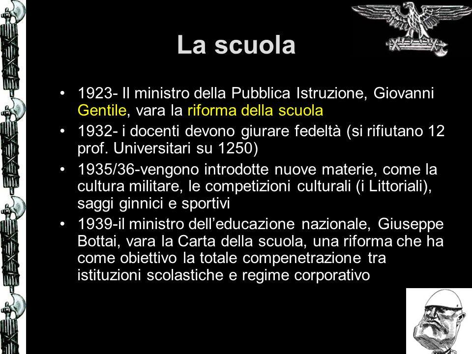 La scuola 1923- Il ministro della Pubblica Istruzione, Giovanni Gentile, vara la riforma della scuola 1932- i docenti devono giurare fedeltà (si rifiu