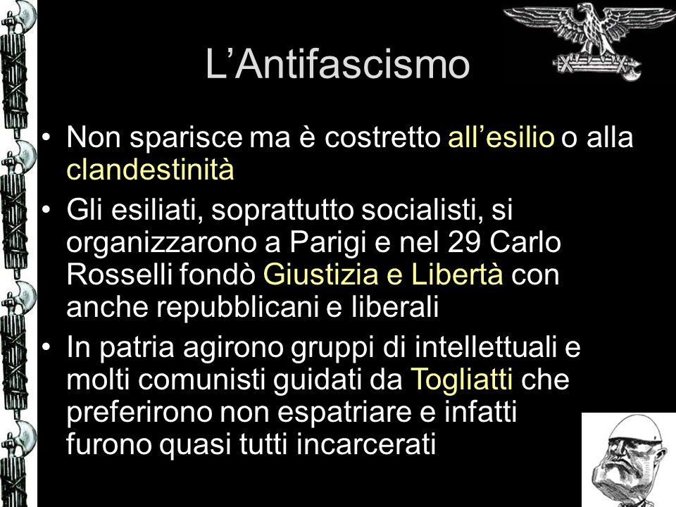 LAntifascismo Non sparisce ma è costretto allesilio o alla clandestinità Gli esiliati, soprattutto socialisti, si organizzarono a Parigi e nel 29 Carl
